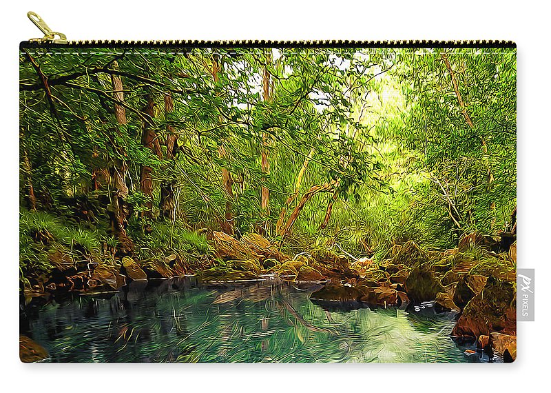 Abstract Carry-all Pouch featuring the digital art Emerald Lake by Svetlana Sewell