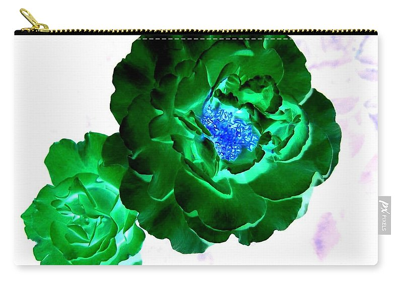 Rose Carry-all Pouch featuring the digital art Emerald Rose by Will Borden