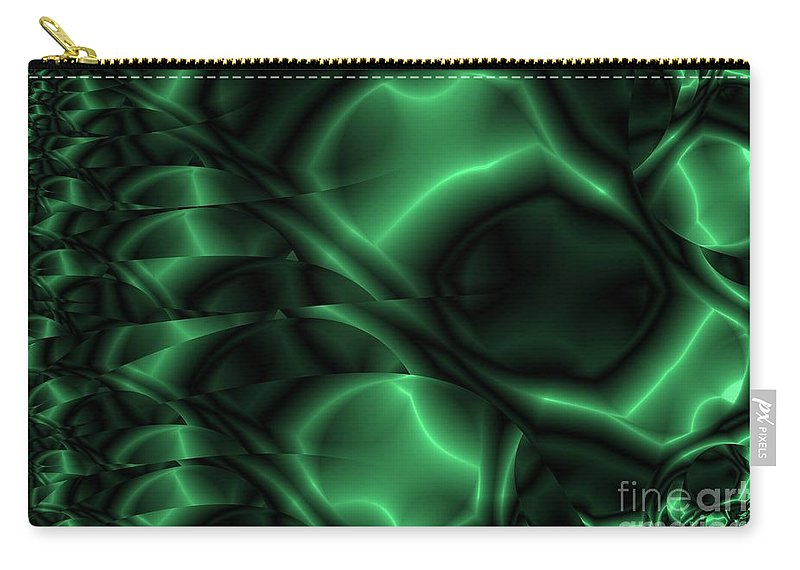 Emerald Carry-all Pouch featuring the digital art Emerald Shimmer by Ron Bissett