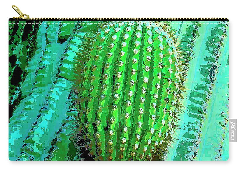 Cactus Carry-all Pouch featuring the mixed media Emergence by Dominic Piperata