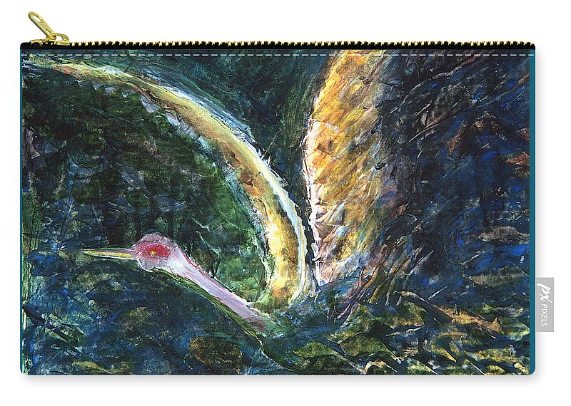 Bird Carry-all Pouch featuring the painting Emergence by Ishwar Malleret