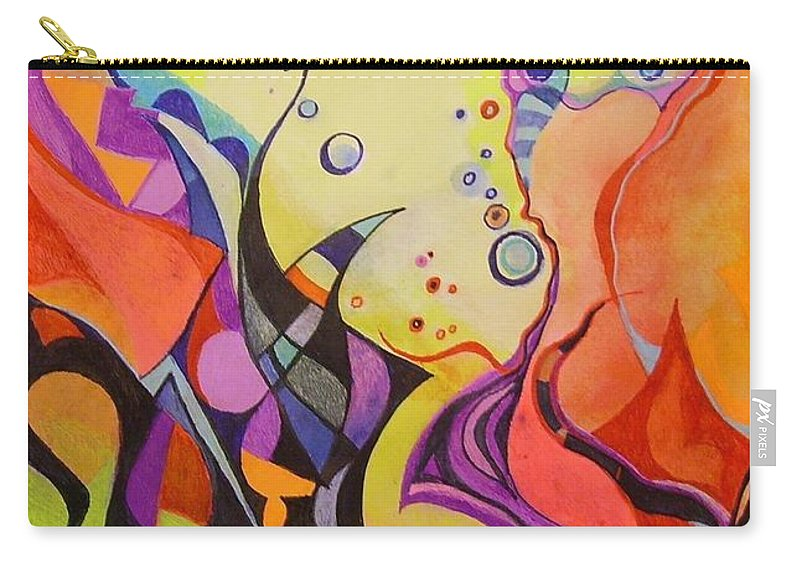 Watercolors Pens Paper Abstract Carry-all Pouch featuring the painting Emergence by Wolfgang Schweizer