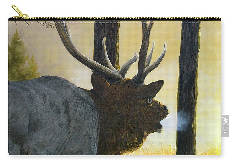 Elk Carry-all Pouch featuring the painting Emerging Monarch - Elk by Johanna Lerwick