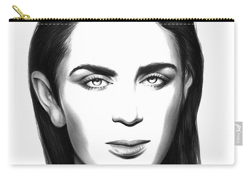 Emily Blunt Carry-all Pouch featuring the drawing Emily Blunt by Greg Joens