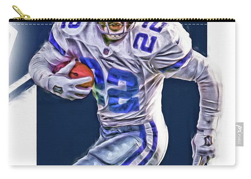 Emmitt Smith Carry-all Pouch featuring the mixed media Emmitt Smith Dallas Cowboys Oil Art by Joe Hamilton