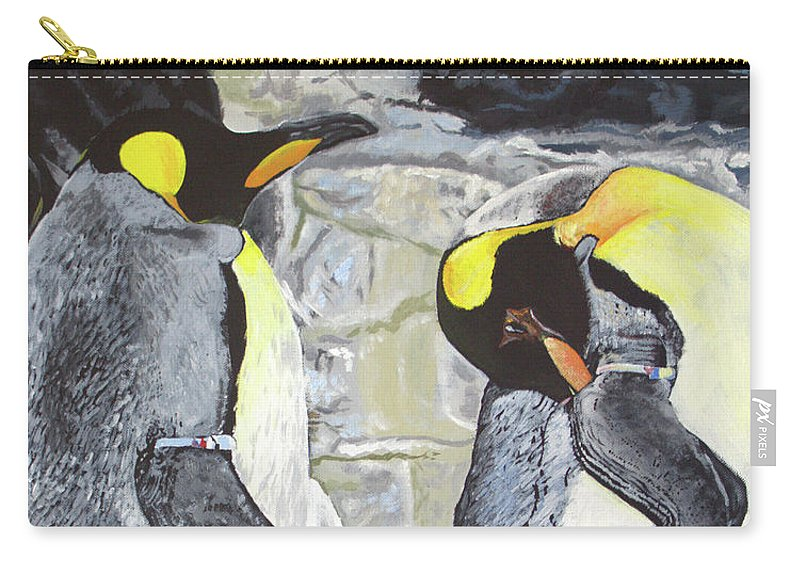Painting Carry-all Pouch featuring the painting Emperors Of The Antarctic by Adrienne Deines