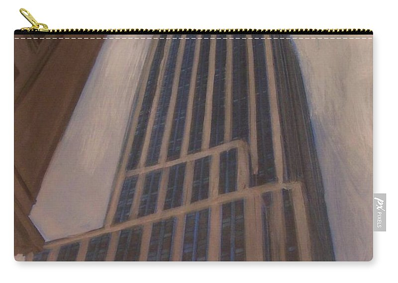 Empire State Building Carry-all Pouch featuring the mixed media Empire State Building 1 by Anita Burgermeister