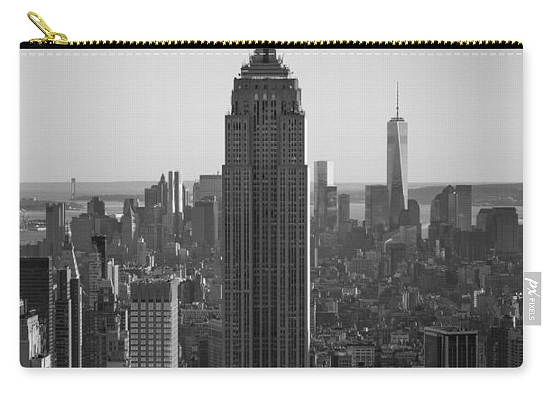 Nyc Sunset Carry-all Pouch featuring the photograph Empire State Building Sunset Bw by Michael Ver Sprill