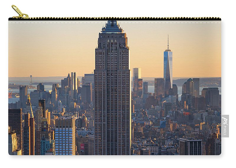 Nyc Sunset Carry-all Pouch featuring the photograph Empire State Building Sunset by Michael Ver Sprill