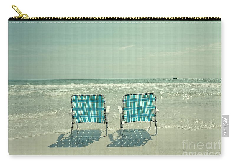 Chair Carry-all Pouch featuring the photograph Empty Beach Chairs by Edward Fielding
