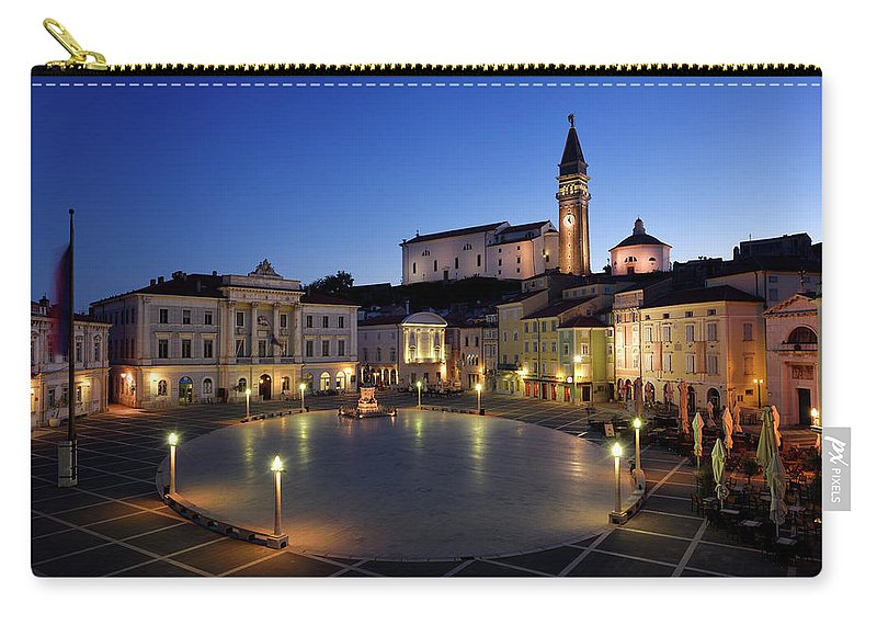 Empty Carry-all Pouch featuring the photograph Empty Tartini Square In Piran Slovenia With Courthouse, City Hal by Reimar Gaertner