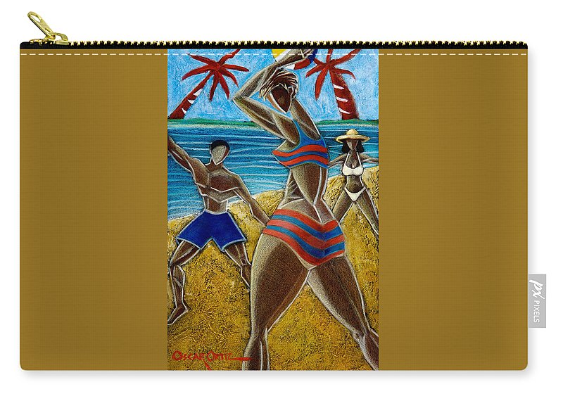 Beach Carry-all Pouch featuring the painting En Luquillo Se Goza by Oscar Ortiz