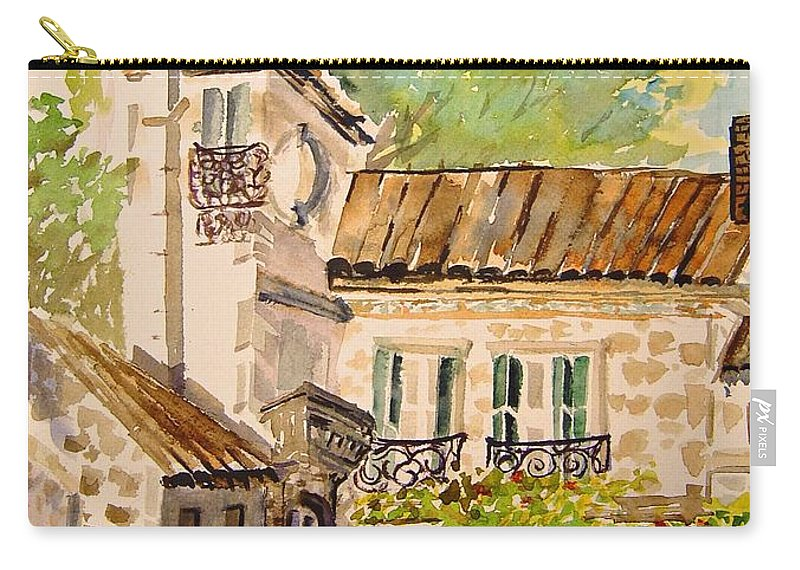 France Carry-all Pouch featuring the painting En Plein air at Moulin de la Roque France by Jo Smoley