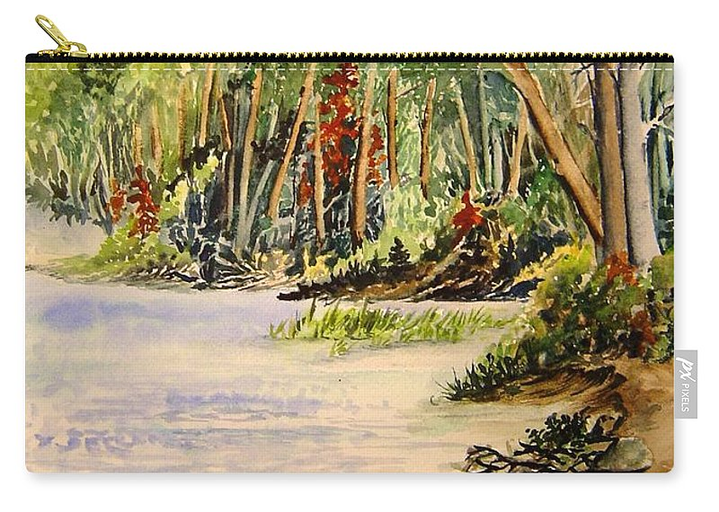 Otter Falls Manitoba Whiteshell Lake Landscape Carry-all Pouch featuring the painting En Plein Air At Otter Falls Boat Launch by Joanne Smoley