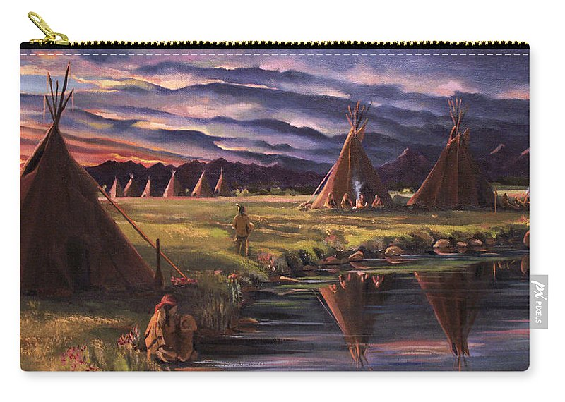 Native American Carry-all Pouch featuring the painting Encampment At Dusk by Nancy Griswold