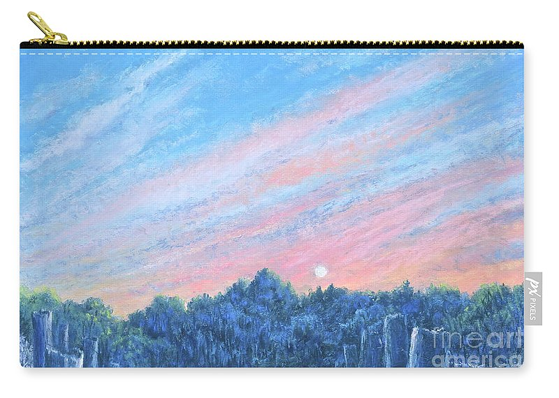 Beautiful Sunset Painting Carry-all Pouch featuring the painting enchanced- Catching the SunSet by Penny Neimiller
