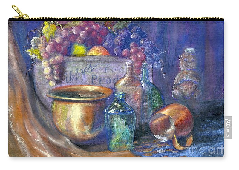 Pastel Art Work Carry-all Pouch featuring the painting Enchanced Still Life Honey Bear by Penny Neimiller