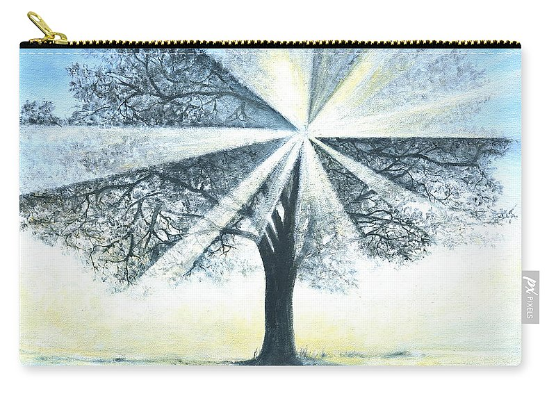 Bright Sun Paintings Carry-all Pouch featuring the painting enchanced Tree Light by Penny Neimiller