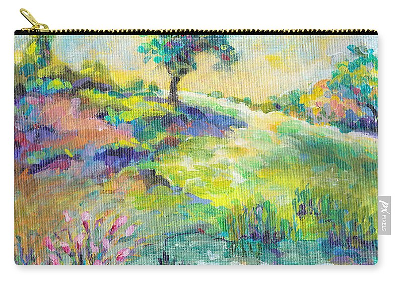 Colorful Nature Carry-all Pouch featuring the painting Enchanted Bluff by Peggy Johnson