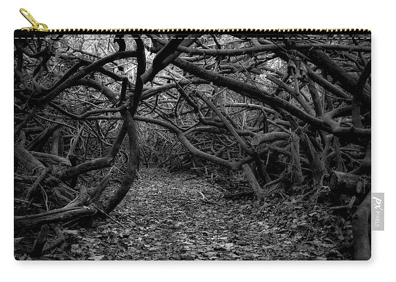 Black And White Image Carry-all Pouch featuring the photograph Enchanted Hau Forest by Heidi Fickinger