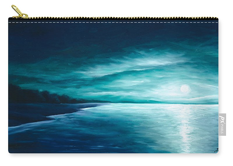 Moonscape Carry-all Pouch featuring the painting Enchanted Moon I by James Christopher Hill