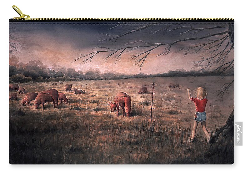 Landscape Carry-all Pouch featuring the painting A childhood by William Russell Nowicki