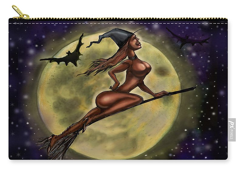 Halloween Carry-all Pouch featuring the digital art Enchanting Halloween Witch by Kevin Middleton