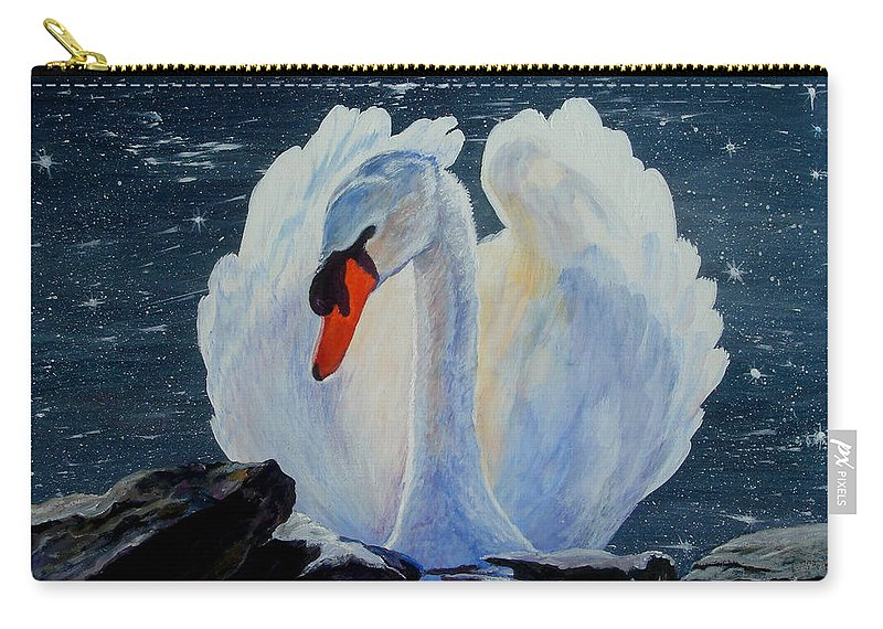 Swan Carry-all Pouch featuring the painting Enchanting by Susan Duda