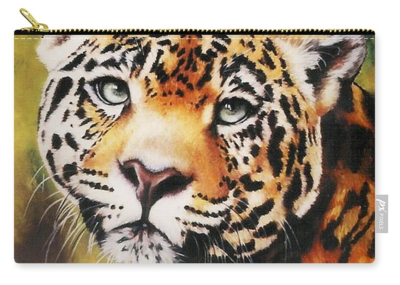 Jaguar Carry-all Pouch featuring the pastel Enchantress by Barbara Keith