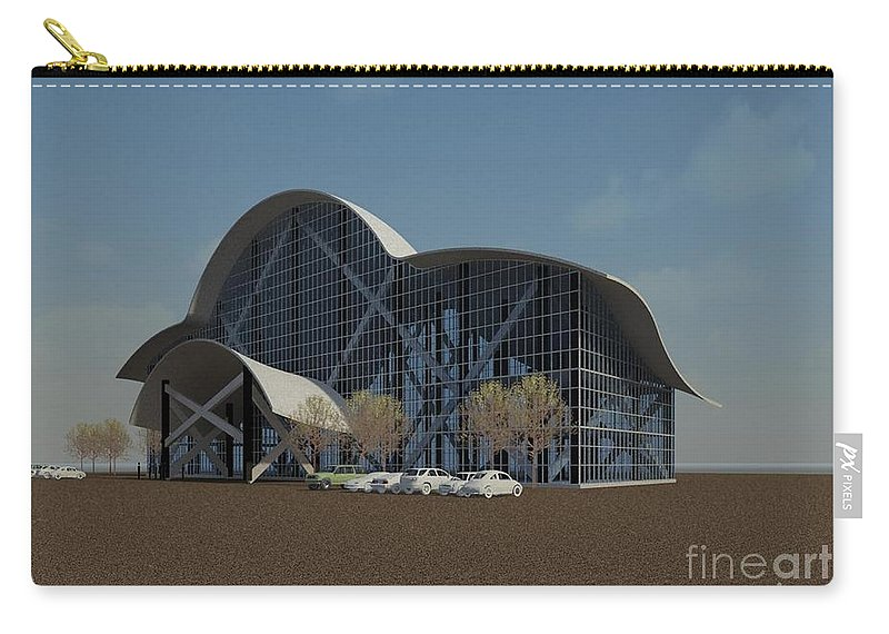 Building Rendering Carry-all Pouch featuring the digital art Enclosure by Ron Bissett