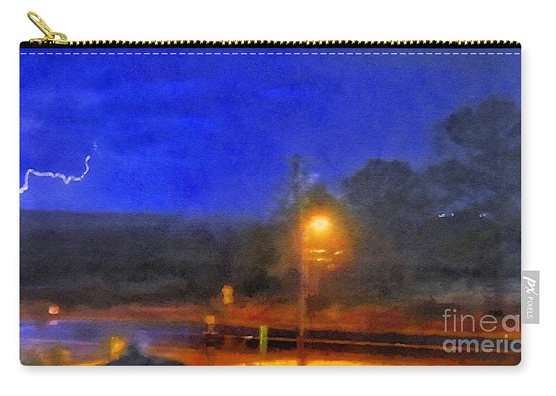 Lightning Carry-all Pouch featuring the digital art Encroaching Lightning by Rrrose Pix