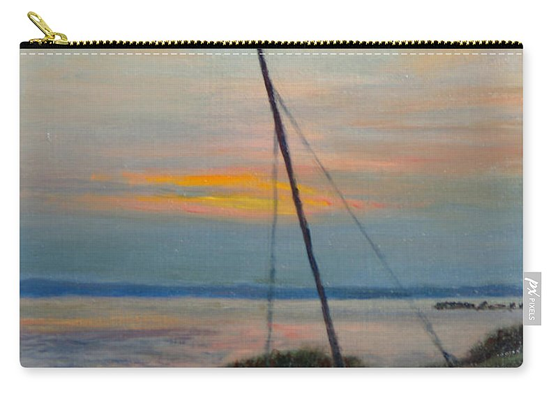 Landscape Carry-all Pouch featuring the painting End Of The Day by Phyllis Tarlow