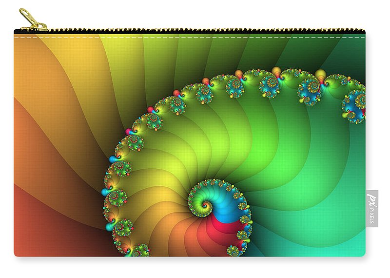 Fractal Carry-all Pouch featuring the digital art End Of The Rainbow by Jutta Maria Pusl