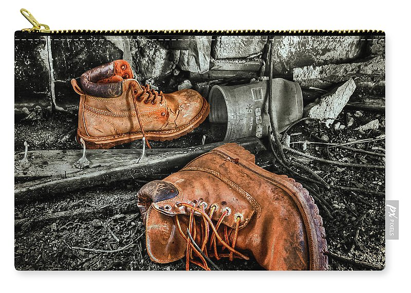 Boot Carry-all Pouch featuring the photograph End Of The Road by Evelina Kremsdorf