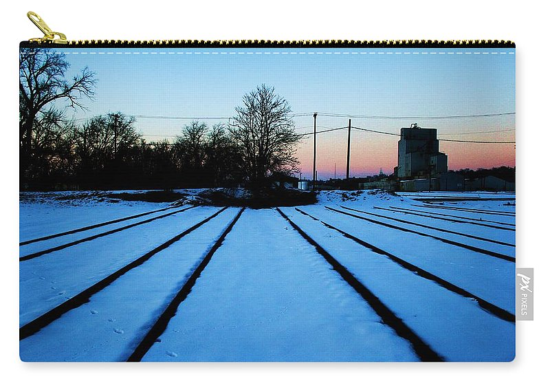 Sunset Carry-all Pouch featuring the photograph End Of The Tracks by Angus Hooper Iii