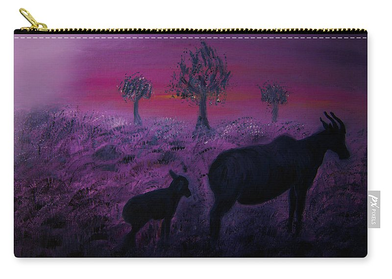 Original Oil Painting Carry-all Pouch featuring the painting Endangered Life by Walpurgis Muse