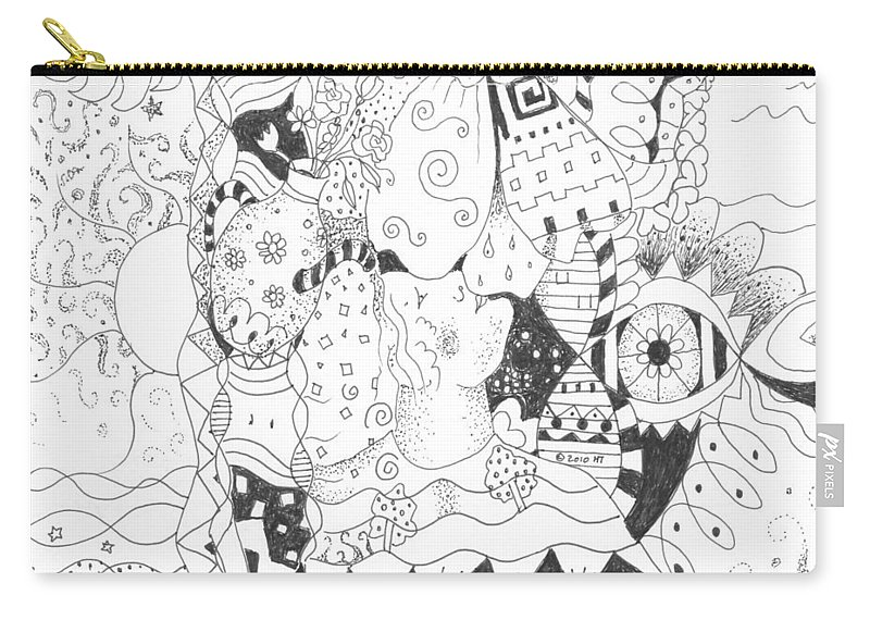 Blessings Carry-all Pouch featuring the drawing Endless Blessings by Helena Tiainen