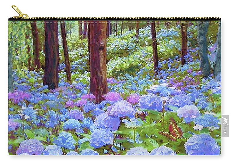 Sun Carry-all Pouch featuring the painting Endless Summer Blue Hydrangeas by Jane Small