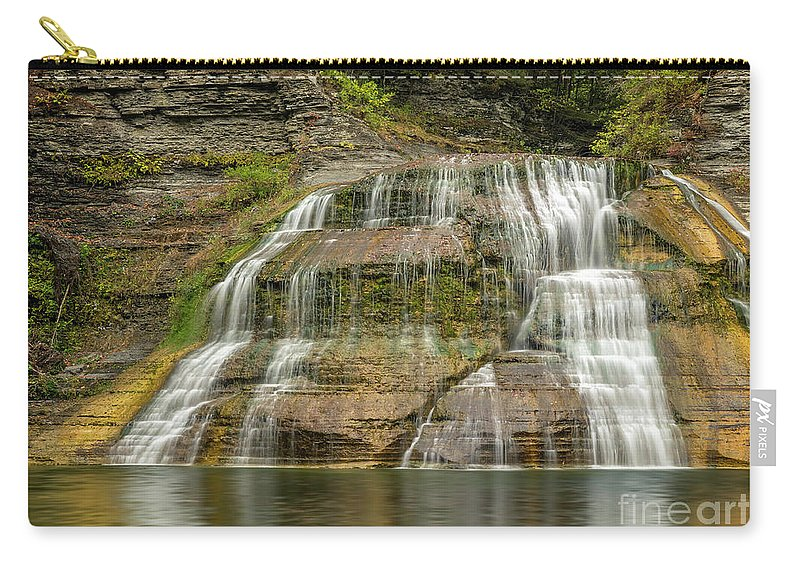 New York Carry-all Pouch featuring the photograph Enfield Falls Tompkins County New York by Karen Jorstad