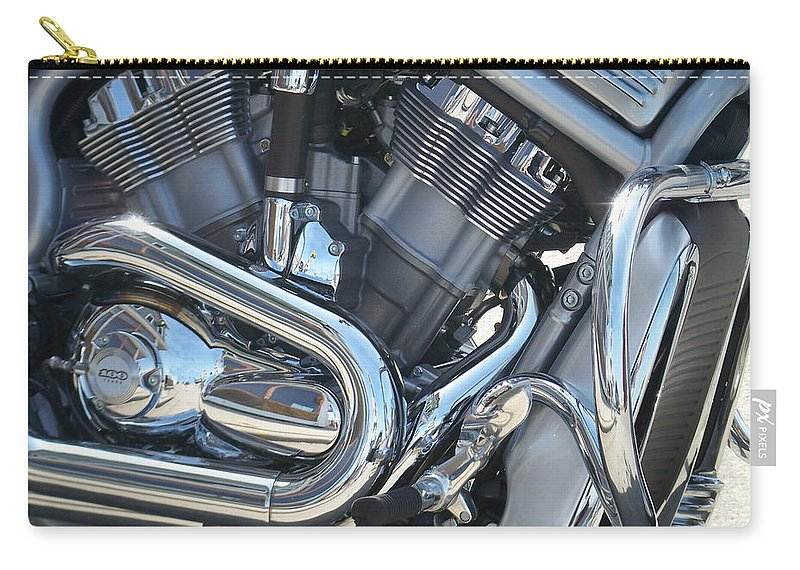 Motorcycle Carry-all Pouch featuring the photograph Engine Close-up 1 by Anita Burgermeister