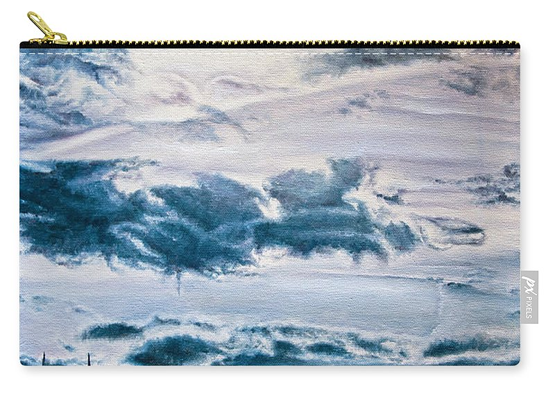 Skies Carry-all Pouch featuring the painting English Beach by Michel Angelo Rossi