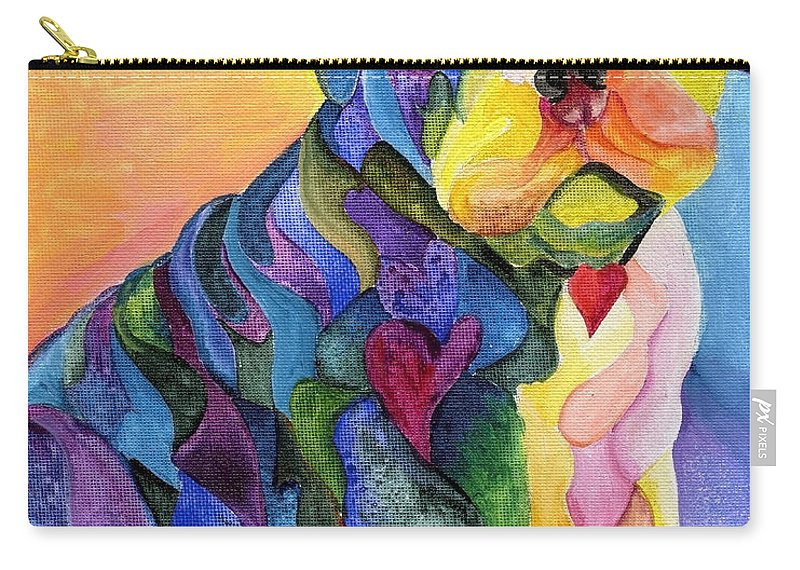 Dog Carry-all Pouch featuring the painting English Blue by Sherry Shipley