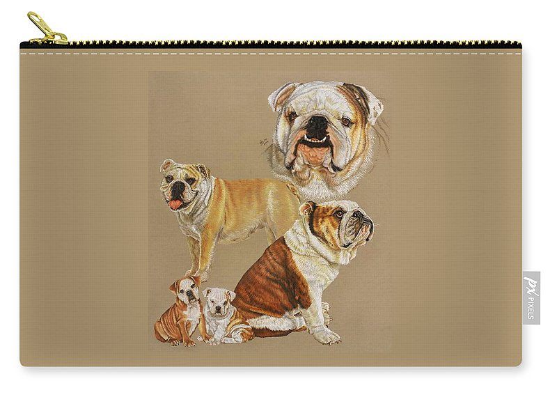 Purebred Carry-all Pouch featuring the drawing English Bulldog by Barbara Keith