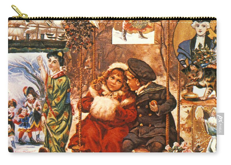 19th Century Carry-all Pouch featuring the photograph English Christmas Cards by Granger