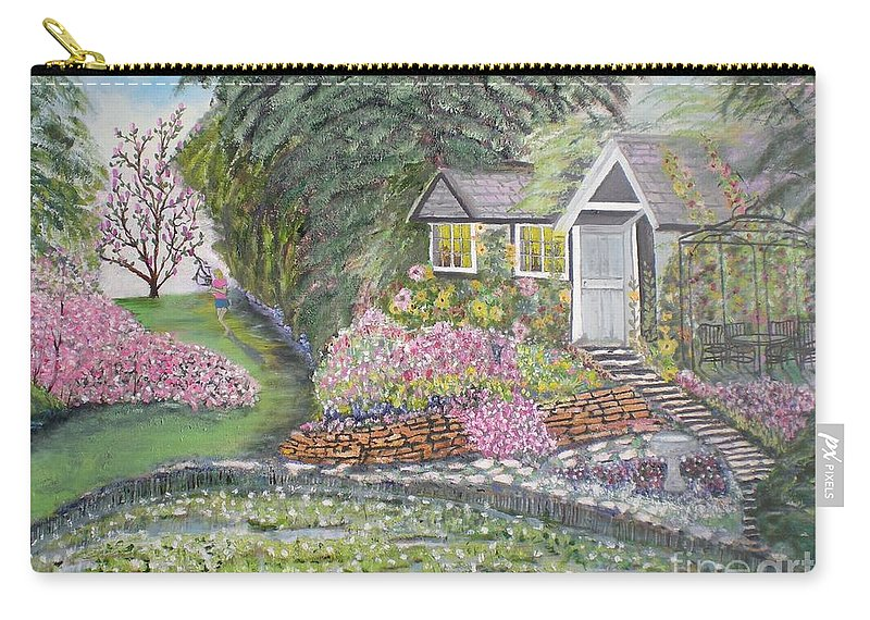 Cottage Carry-all Pouch featuring the painting English Cottage by Hal Newhouser