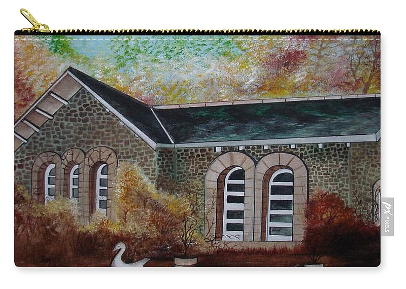 Autmn Carry-all Pouch featuring the painting English Cottage In The Autumn by Glory Fraulein Wolfe