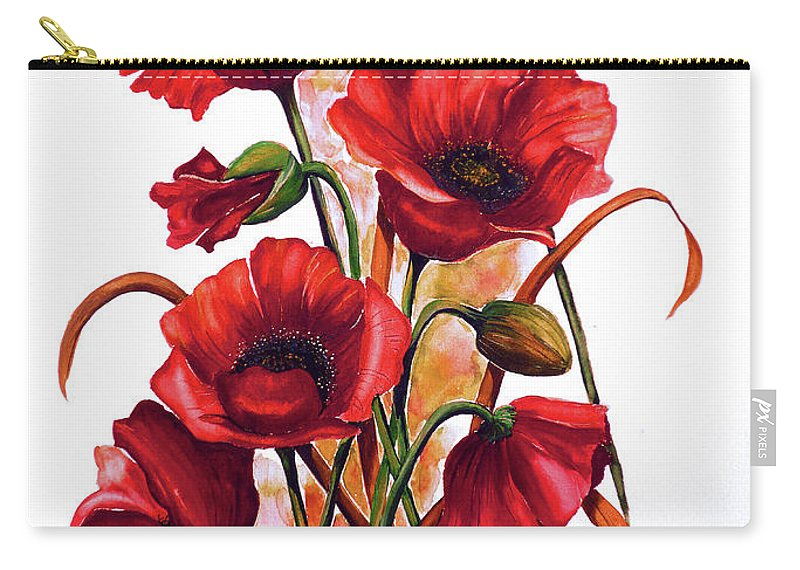 Red Poppies Paintings Floral Paintings Botanical Paintings Flower Paintings Poppy Paintings Field Poppy Painting Greeting Card Paintings Poster Print Painting Canvas Print Painting  Carry-all Pouch featuring the painting English Poppies 2 by Karin Dawn Kelshall- Best