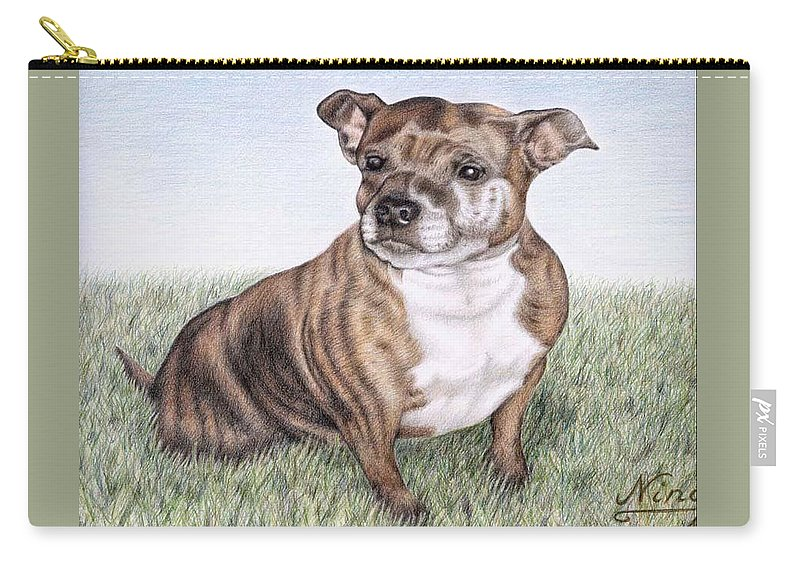 Dog Carry-all Pouch featuring the drawing English Staffordshire Terrier by Nicole Zeug