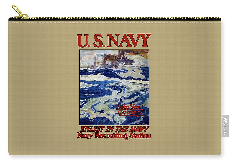 Battleships Carry-all Pouch featuring the painting Enlist In The Navy - Help Your Country by War Is Hell Store