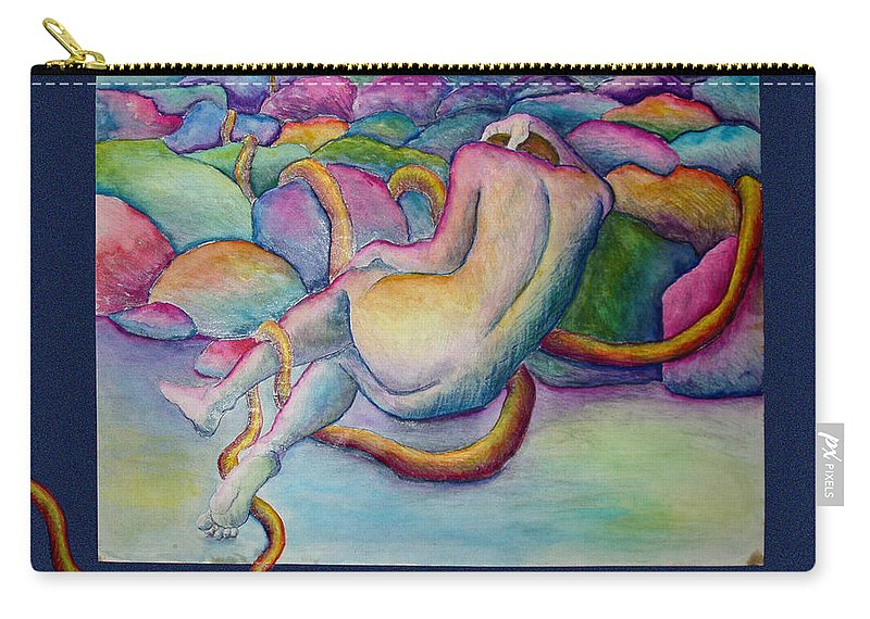 Figure Carry-all Pouch featuring the painting Entangled Figure With Rocks by Nancy Mueller